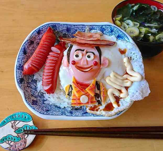 Woody from Toy Story featured in a character bento by Etoni Mama