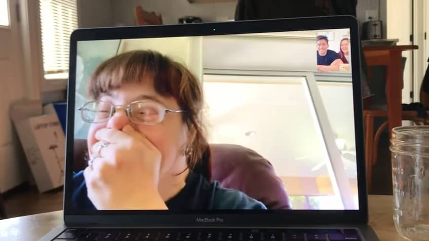 Brittany Garasola on a video call with Chris and Tatiana