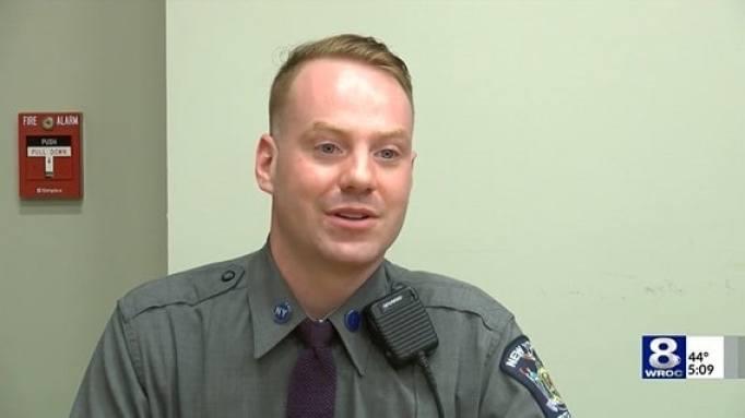 Trooper Brian Hotchkiss being interviewed