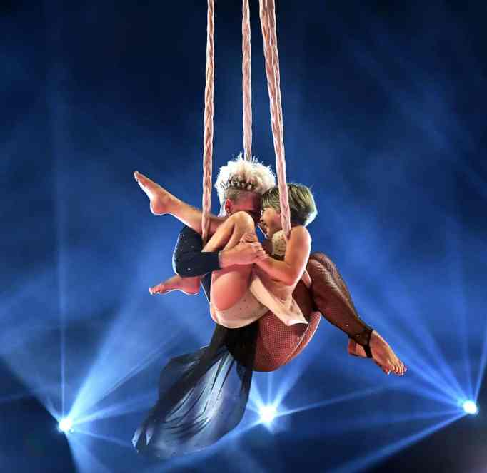 Pink and Willow performing an aerial dance during the 2021 Billboard Music Awards