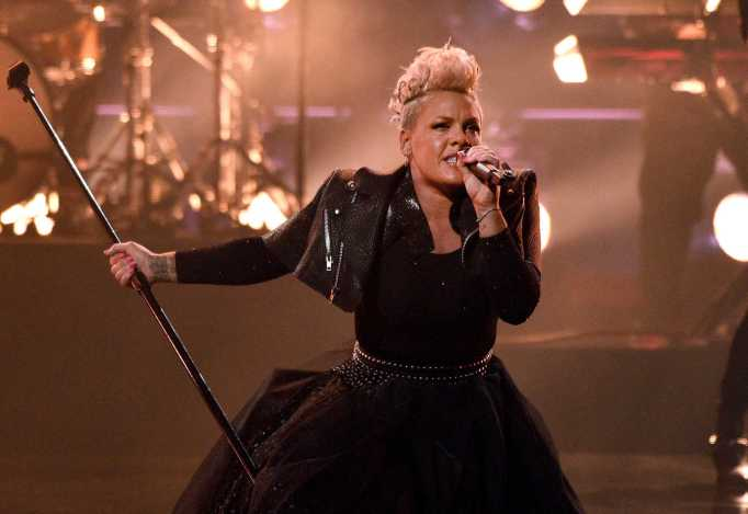 Pink performing during the 2021 Billboard Music Awards