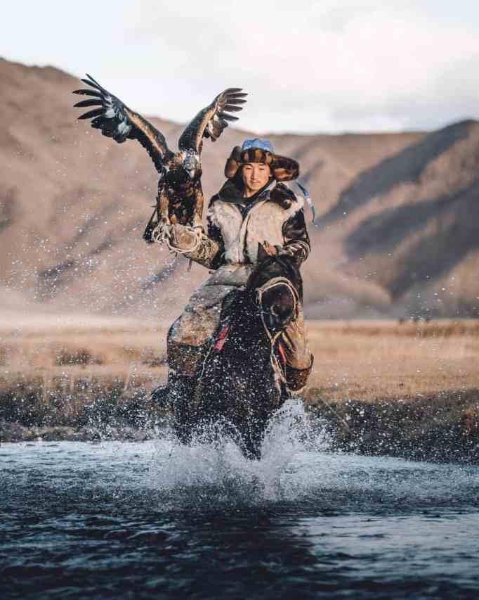 A male eagle hunter with his eagle