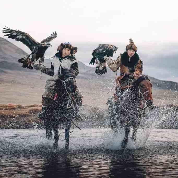 Eagle hunters Zamanbol and Barzabai