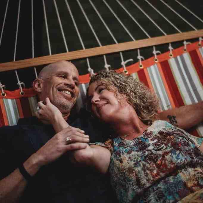 Lisa Marshall and Peter Marshall on a hammock