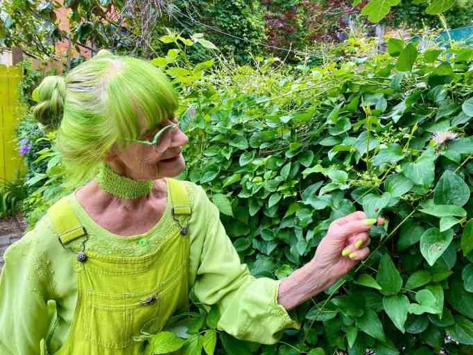 Sweetheart matches the color of her lush garden.