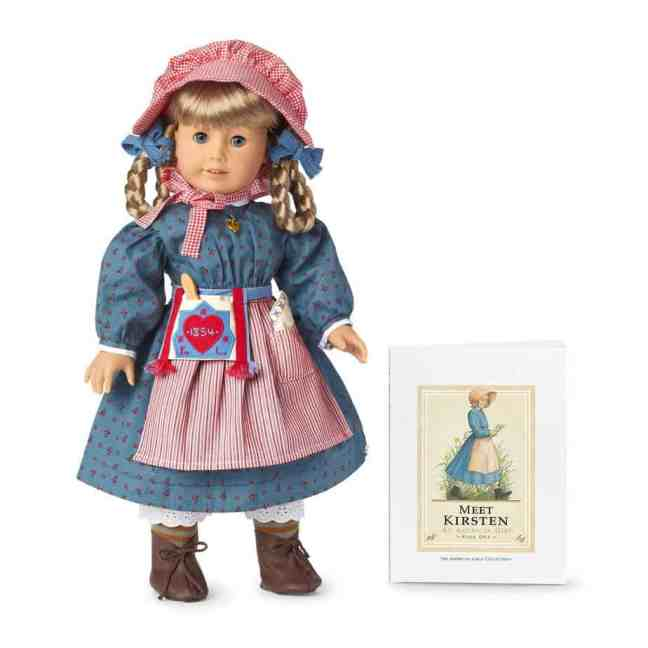 American Girl doll Kirsten Larson with her book