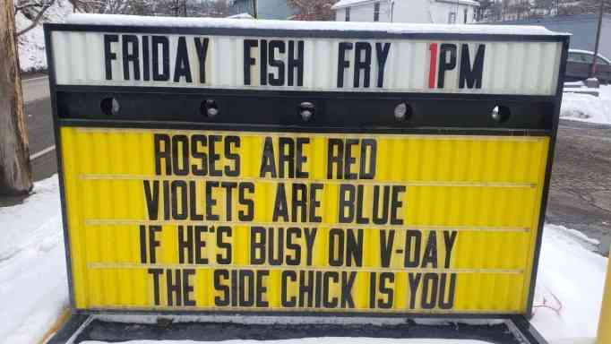 A funny sign made by PJ's Deli, Catering, and Bakery