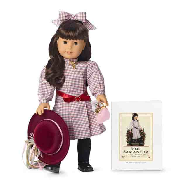 American Girl doll Samantha Parkington with her book