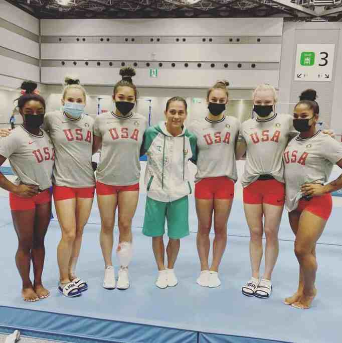 Team USA women's gymnastics team with Oksana Chusovitina
