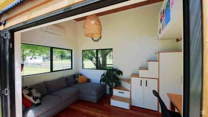 The living room of the tiny home.