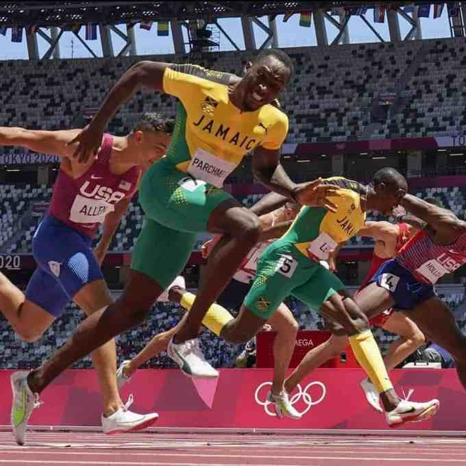 Hansle Parchment competing in the men's 110-meter hurdles during the Tokyo Olympics