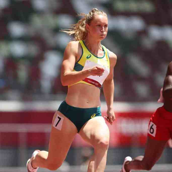Riley Day competing in the 200 meter women's event during the 2020 Tokyo Olympics