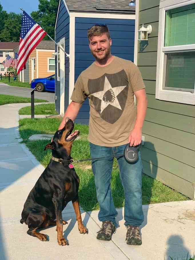 A veteran with his dog