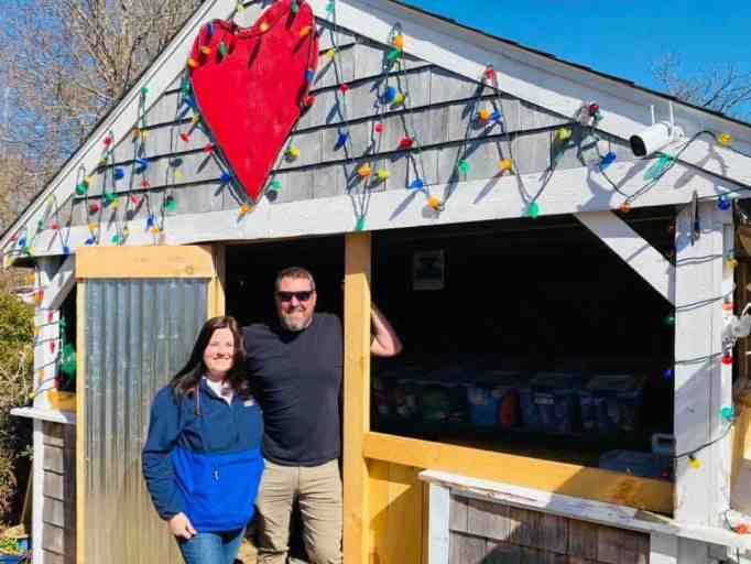Jill Gonsalves and Kenneth Gonsalves at Acushnet Pet Food Pantry