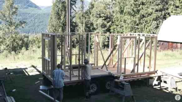 Brigitte building her tiny home