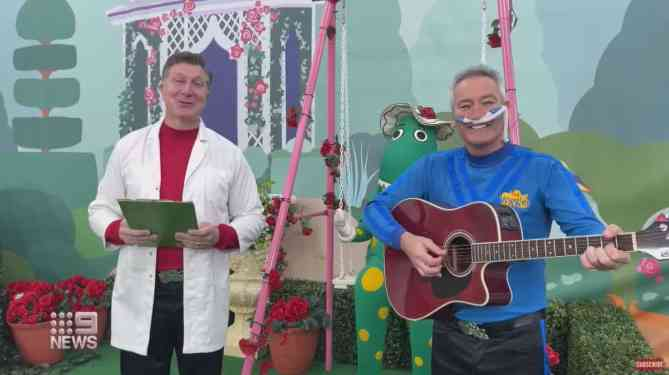 The Wiggles in their instructional video for Sarah Kelly