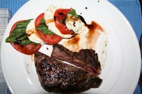 Porterhouse steak with Caprese for two, 8th Anniversary, May 2012
