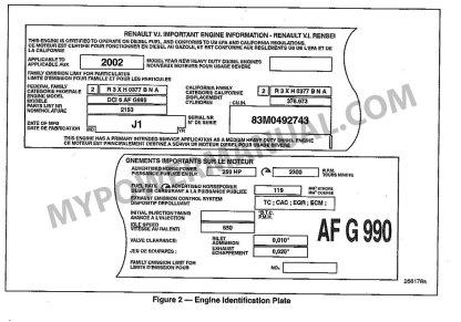 renault dci6 diesel engine identification plate serial number