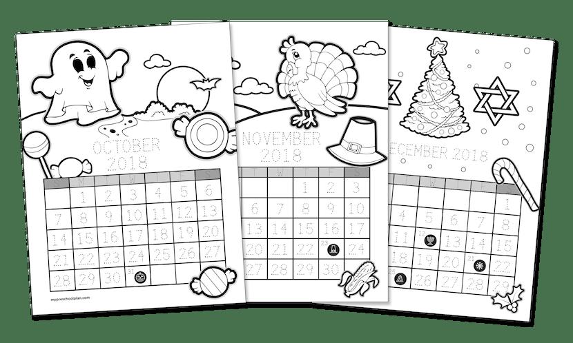 2018 Printable Calendar-to-Color — My Preschool Plan