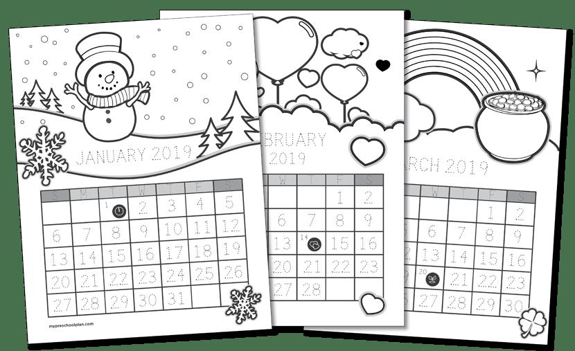 Printable Calendar-to-Color — My Preschool Plan