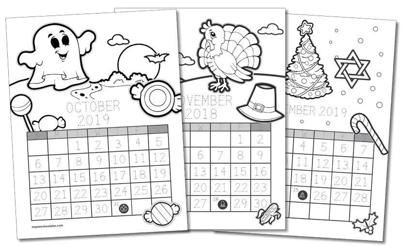 Printable Calendar-to-Color — My Preschool Plan