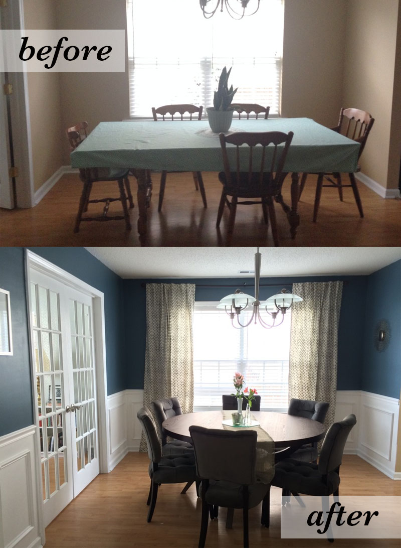 Dining Room, before & after