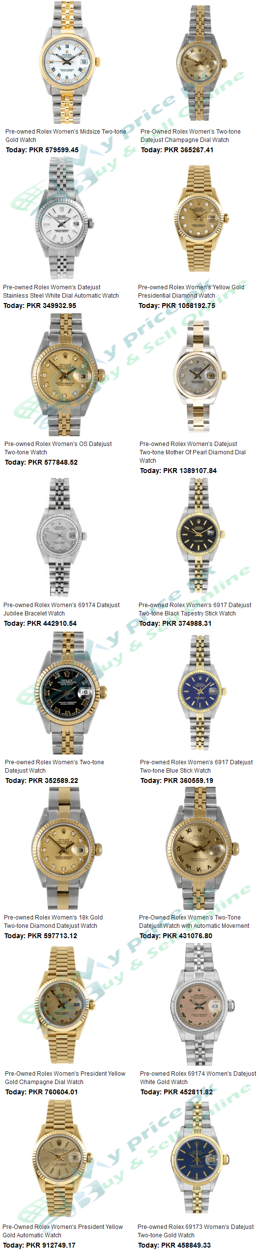ROLEX Best Ladies/Female Watches Products Price in Pakistan with Specs Shape Images