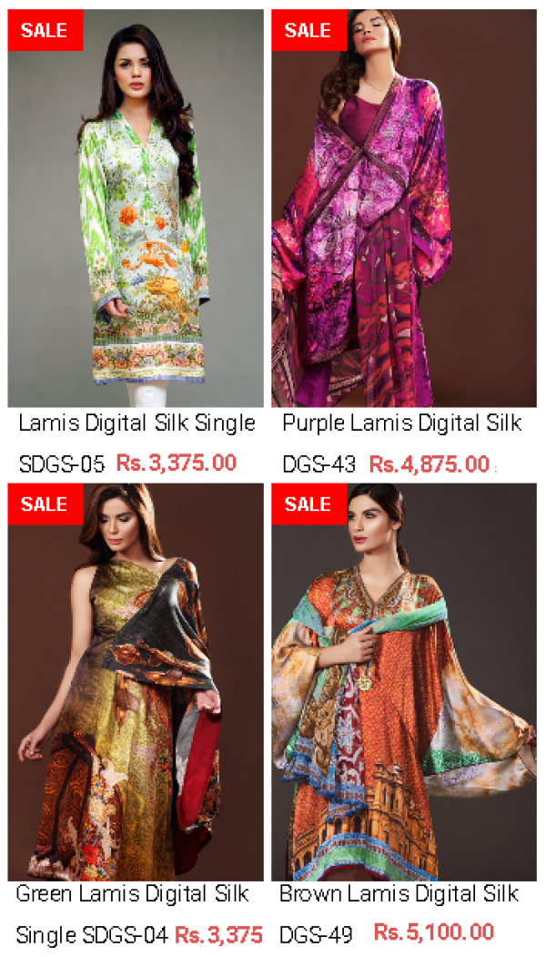 Gul Ahmed Lamis Digital Silk Collections For Summer Spring 2016 New Colors Variety With Price