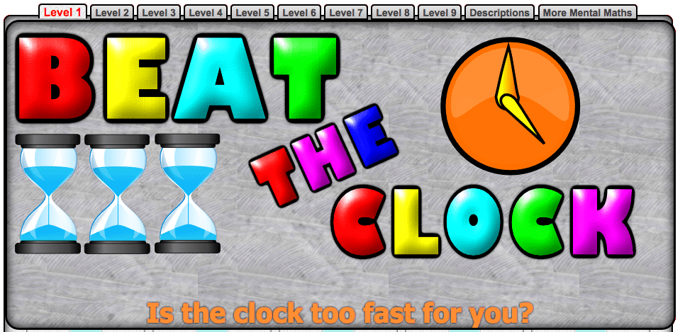 Mental Maths : Beat the Clock by Transum.org