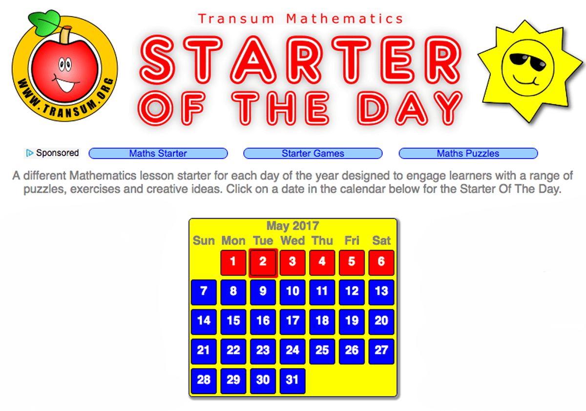 Numeracy : Starter of the Day