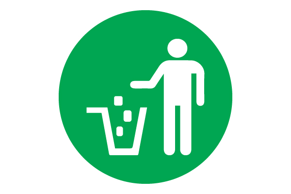 Put waste in Trash Green Icon