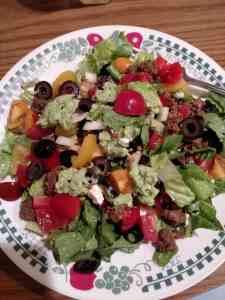 taco salad with guacamole