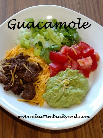 guacamole on plate with salad