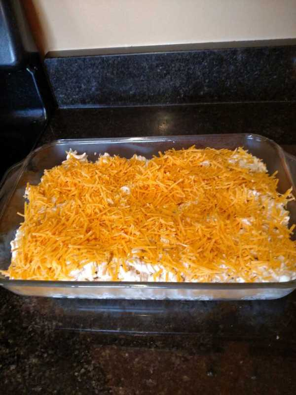 cheese added to casserole