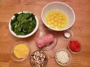Ingredients for Mushroom Spinach Frittata