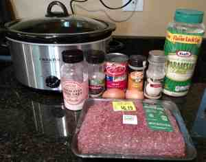 Ingredients for Low Carb Crock Pot Meatballs