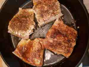 Blackened Salmon cooking