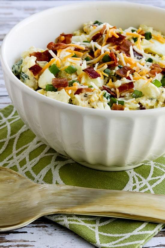 Low-Carb Loaded Cauliflower Mock Potato Salad (Video)