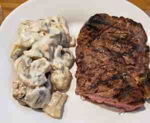 Creamed Mushrooms with steak