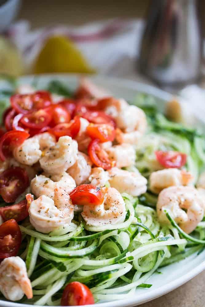 Creamy Greek Shrimp & Cucumber Noodles