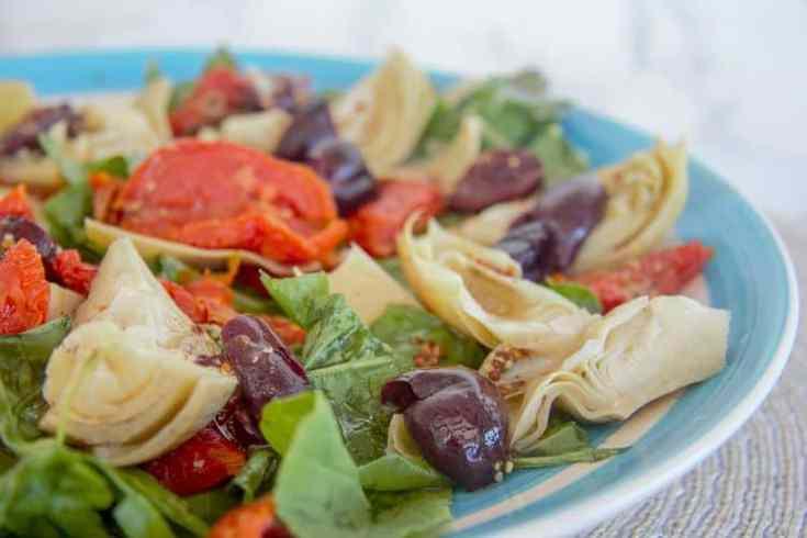 Arugula Salad with Artichoke, Olive & Sun-Dried Tomatoes