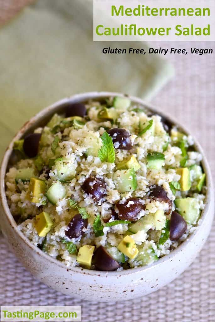 Mediterranean Cauliflower Salad {Gluten Free, Vegan}