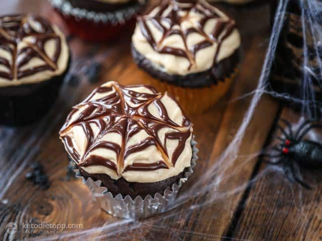 Healthy Low-Carb Halloween Spiderweb Cupcakes
