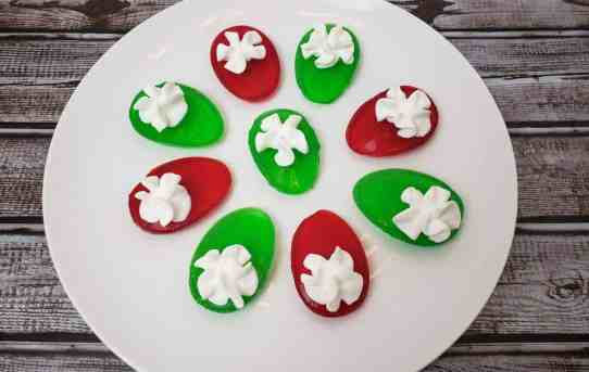 red and green deviled jello eggs