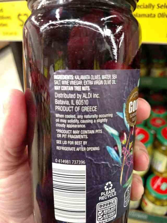 Kalamata Olives label