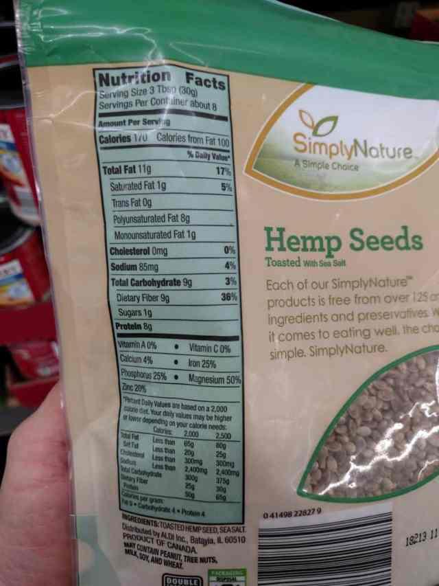 Hemp Seeds label