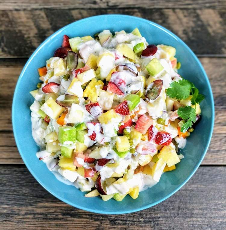 Russian salad recipe vegetable fruit salad in yogurt dressing russian salad recipe forumfinder Image collections