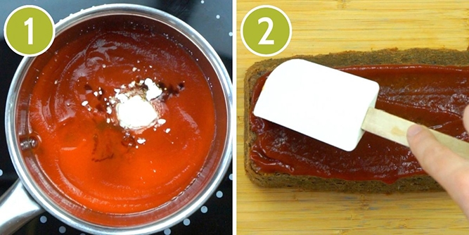 2 photo colalge showing a frying pan from above with red sauce, black liquid and white powder just added to it. The other shows white spatula smoothing a red sauce on top of a brown loaf