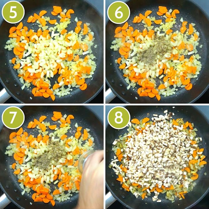 4 photo collage of a frying pan from above showing chopped onion, carrots, celery, mushrooms and seasoning