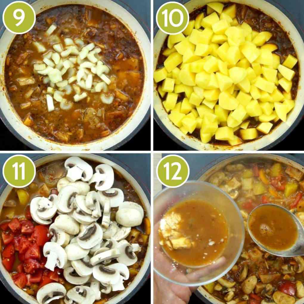 4 step photos to make vegan stew - adding celery, potatoes, tomatoes, mushroom and thickening the soup with corn starch